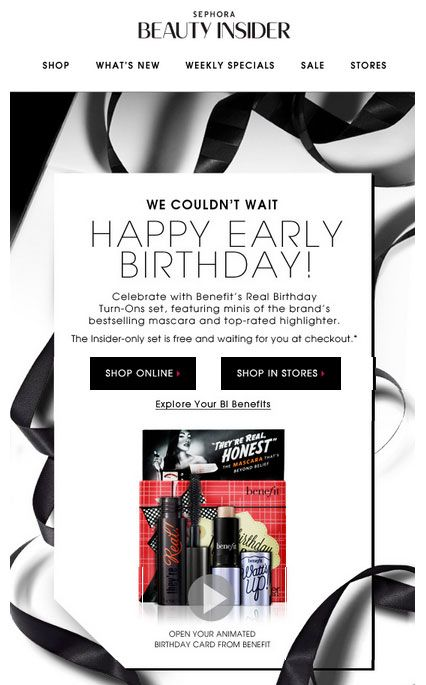Sephora Beauty Insider birthday email.