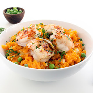 "Butternut Squash ""Rice"" Risotto with Shrimp & Peas."