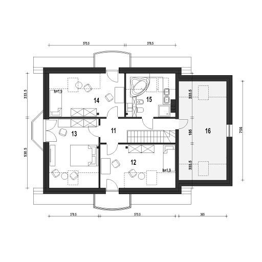 Dom Dla Ciebie 1 w2 z garażem 1-st. A - Rzut poddasza