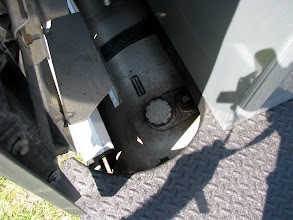 Photo: Notice how we arced out the deck toaccommodatethe fuel filler access. It works well. You do not want any LESS space than this for fueling.