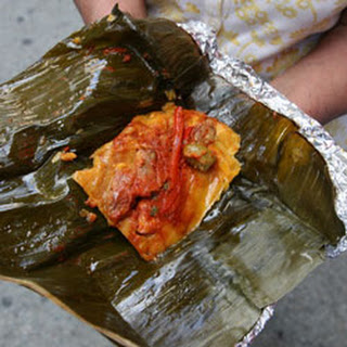 Guatemalan Tamales with Ancho Chile Sauce.