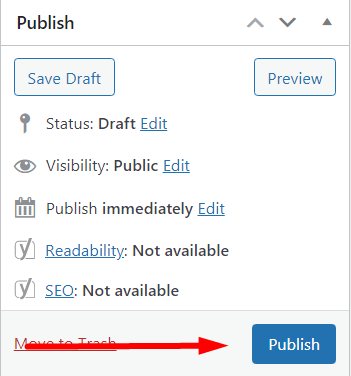 Publish button on WordPress