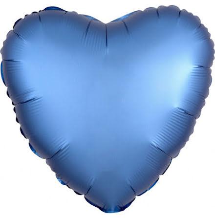 Folieballong Satinhjärta azurblå, 43 cm