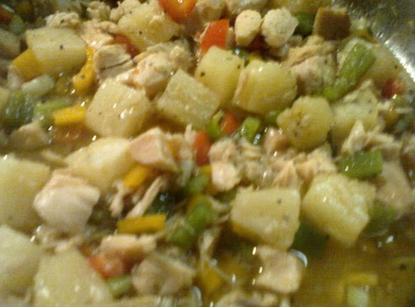 Add in the brown sugar and pineapple juice, stirring to dissolve and vegetables are...