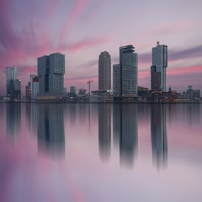 A long exposure of a colourful sky over Rotterdam by Rémon Lourier - City,  Street & Park  Skylines ( highrise, skyline, colourful, riverside, rotterdam, beautiful, holland, sunrise, cityscape, river )