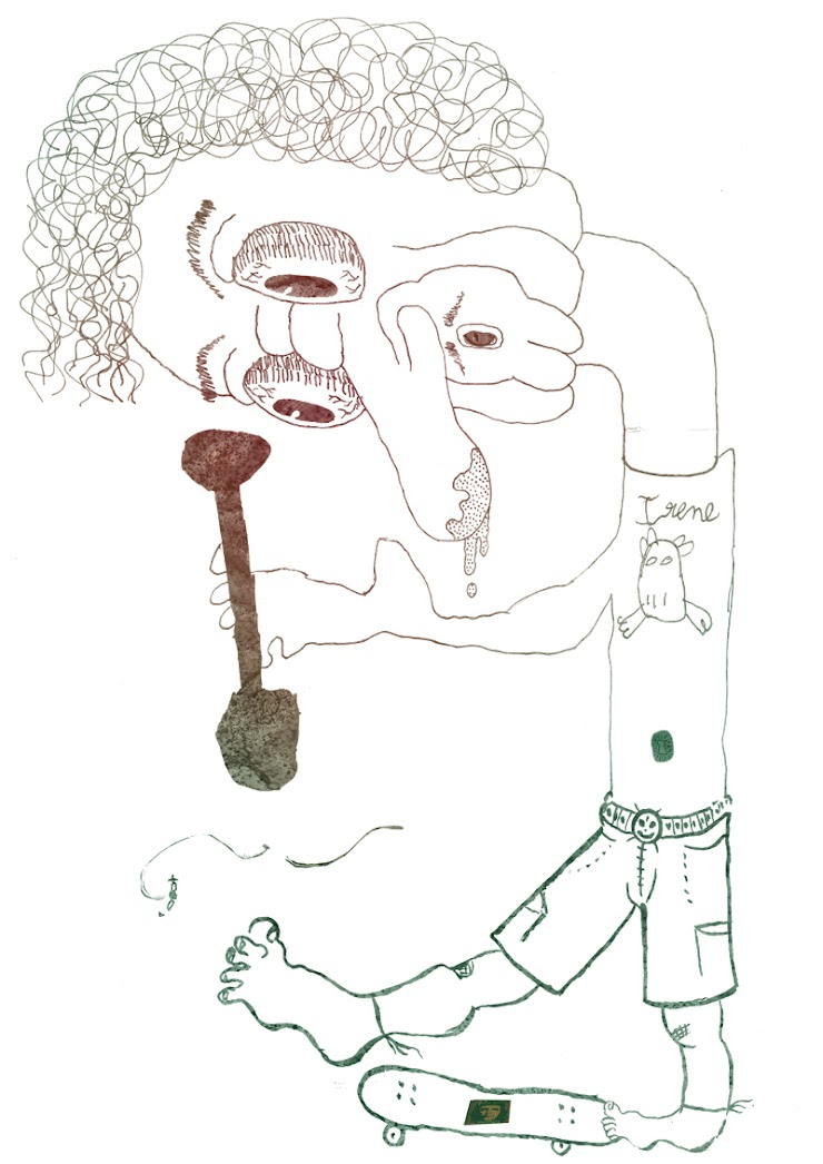 Above is an example of an exquisite corpse as a doodling game on folded paper