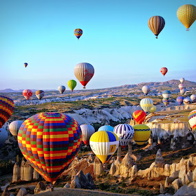Cappadocia, Turkey by Andie Andros - Transportation Other ( the viewing deck, turkey, hot air balloons, cappadocia )