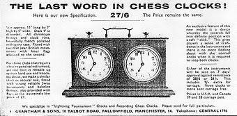 Photo: CHESS No.39 Dec 1938 (cover)  Lovely looking clock advertised on the front cover of the magazine - although not actually sold by CHESS.