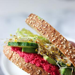 Beet Hummus Sandwich.