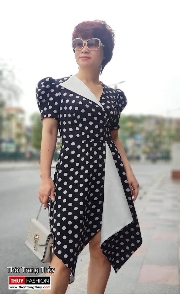 Váy xòe chấm bi công sở và dạo phố màu đen trắng V698 thời trang thủy hà nội