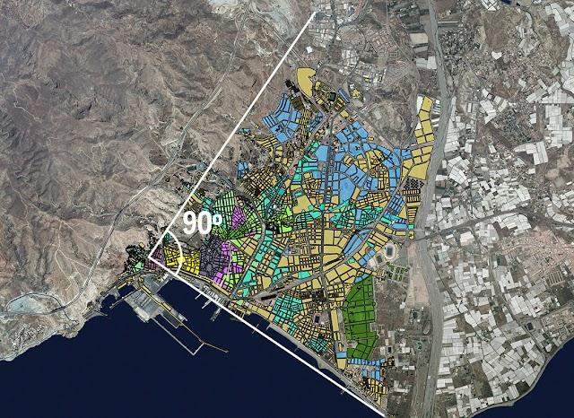 Fases de crecimiento focal de la ciudad de Almería.