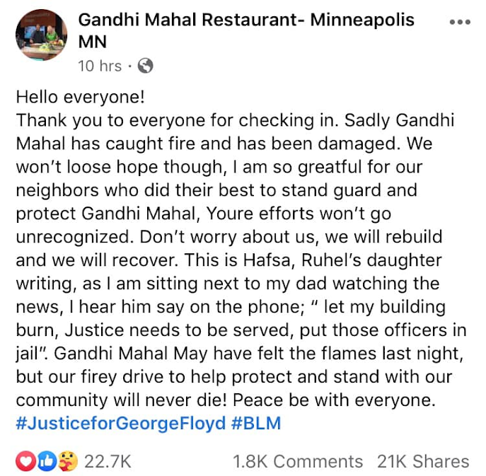 Post by Gandhi Mahal Restaurant regarding property damage during the riot