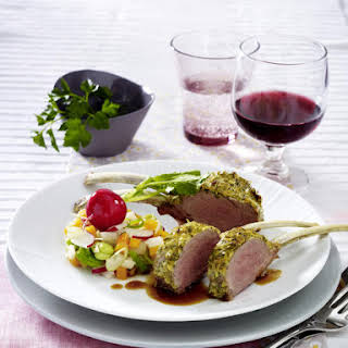 Rack of Lamb with Sautéed Vegetables.