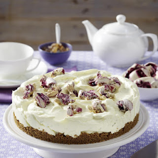 Lime Cheesecake with Blueberry Meringues.