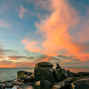 Brighton Alley  by Jamie Rabold - Landscapes Beaches ( water, clouds, great lake, the big lake, north shore, lake superior, sunrise, duluth mn, rocks, lake shore )