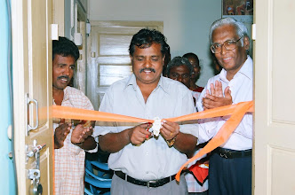 Photo: Mr.Sudarshan,Director,JSS,Ministry of HRD,Govt of India cutting the ribbon to declare open the Community Technology centre