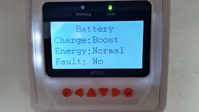 Photo: [Device replaced with a Victron unit now] MT50 Remote Meter showing battery details