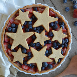Red, White and Blue Berry Custard Pie