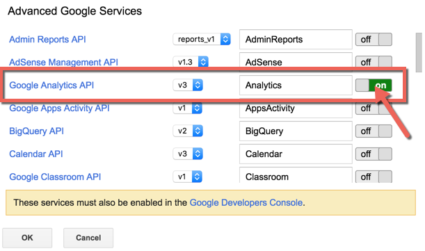 Pulling Google Analytics Data in Sheets with Google Apps