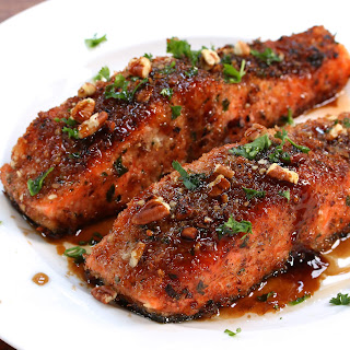 Pecan-crusted Salmon with Bacon Fat Maple Glaze.