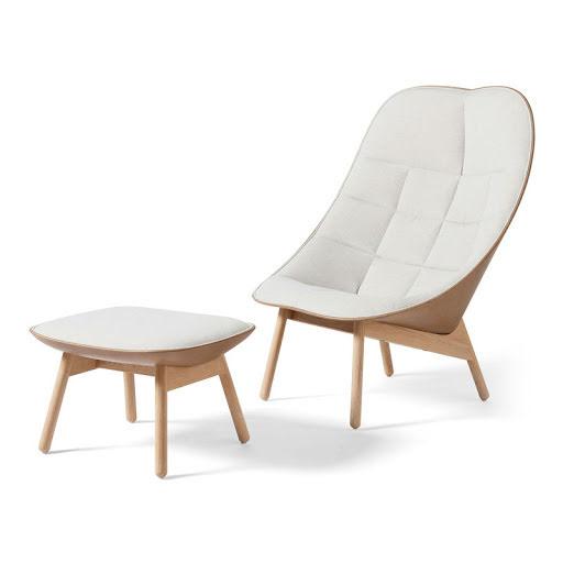 Uchiwa lounge chair och fotpall. Mode och Silk Leather