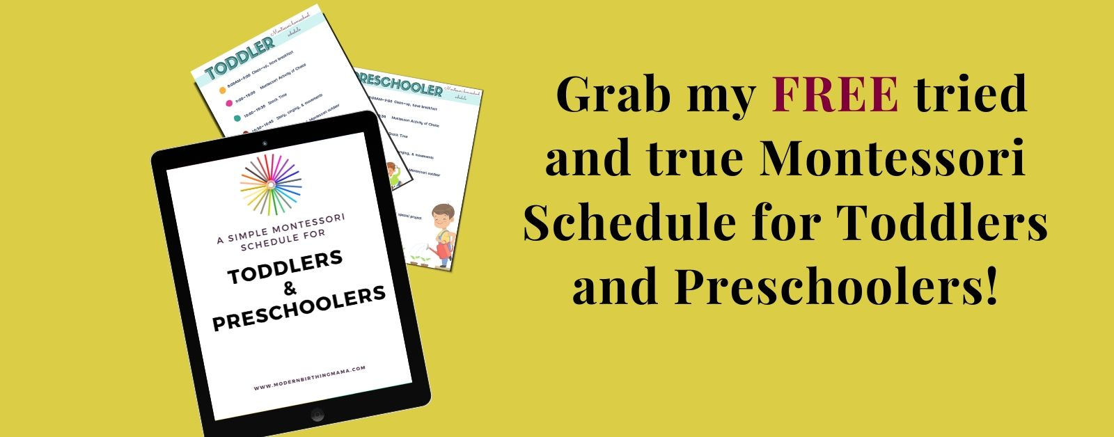 grab free montessori schedule with ipad