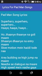 Lyrics For Pad Man Songs - náhled