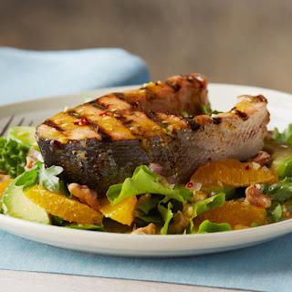 Alaska Keta Salmon Steaks with Orange-Avocado Salad