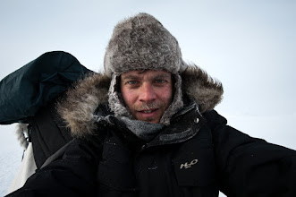 Photo: Another obligatory 'I have ice on my face, and a rabbit on my head' shot. Behind me you can make out the landscape before it started snowing, and it all became one big white place on earth.