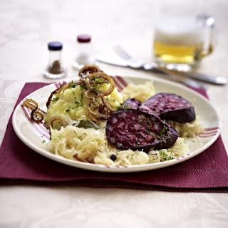 Black Pudding with Mashed Potatoes and Braised Cabbage.