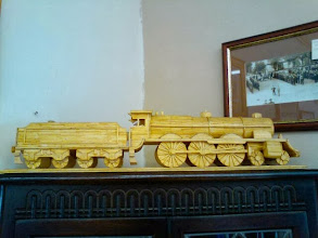 Photo: Someone put in alot of effort in carving a train - for sale out on west st. at the Horncastle Antiques Centre dealer stands. With 3 storeys of goods to peruse, many dealers take a weekend to see the whole of the Town's emporiums.