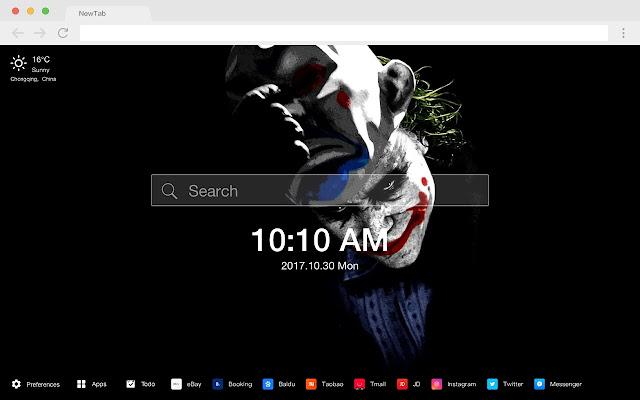 The Joker pop villain HD new tab page theme