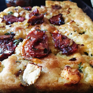 Focaccia With Sun Dried Tomatoes And Feta.