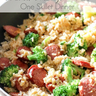 Smoked Sausage & Rice One Skillet Meal.