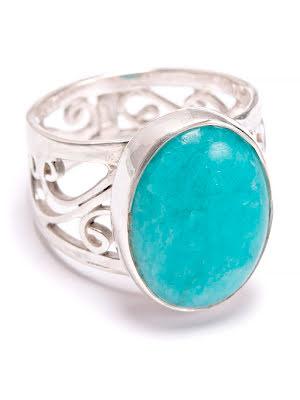 Amazonit, ring i silver med filigrankant