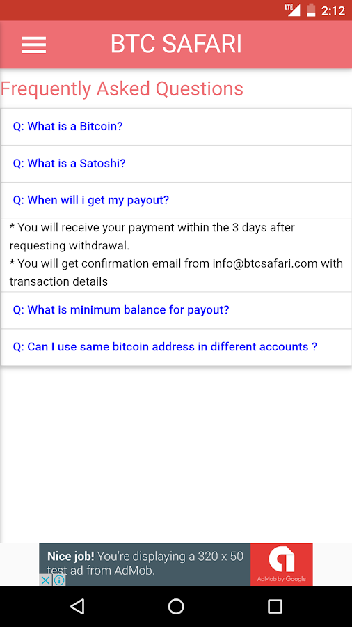BTC SAFARI - Free Bitcoin- screenshot