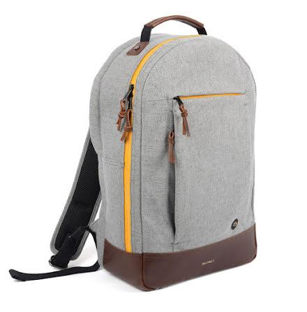 BillyBelt Backpack mottled grey canvas yellow zipper brown leather