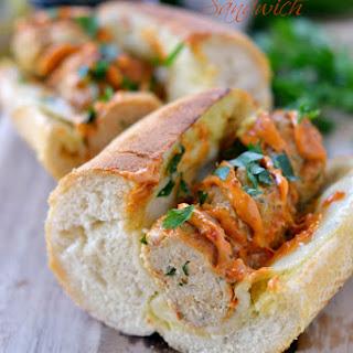 Tuscan Chicken Meatball Sandwich.