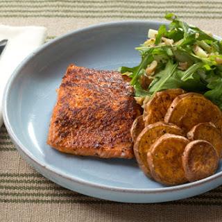 BBQ-Spiced Salmon & Roasted Sweet Potato Rounds with Arugula, Apple & Walnut Salad