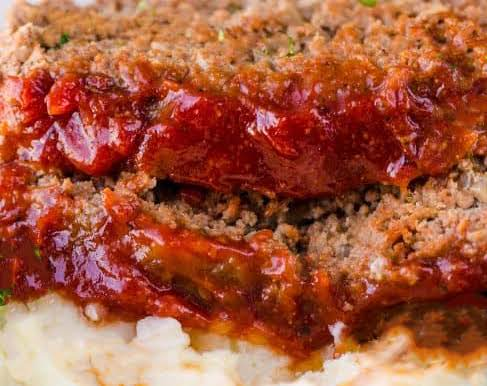 Meatloaf Enhanced With A Robust Sauce.