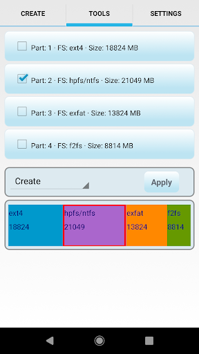 aparted ( sd card partition ) screenshot 2