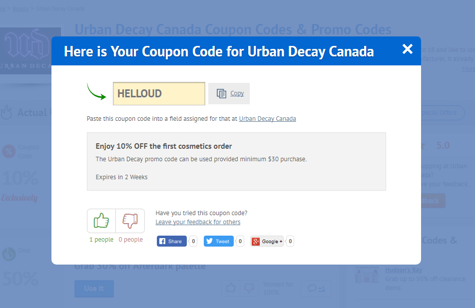 Urban Decay Canada promo code
