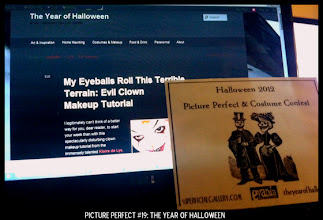 Photo: Point values for this target: 3 Points for The Year of Halloween Home Page; 5 Points for Scary Clown Makeup Tutorial with The Year of Halloween banner visible. Email your submission to contests@superficialgallery.com.