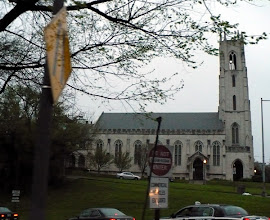 "Photo: The Church of the Pilgrims (Presbyterian), 2201 P St. NW, is a neo-Gothic church in Early English Period style (1190—1310). It features lancet, or pointed-arch doorways and windows often grouped in twos or threes. This church features an unadorned square bell tower. ""At its purest the style was simple and austere, emphasising the height of the building, as if aspiring heavenward."" http://en.wikipedia.org/wiki/English_Gothic_architecture   - http://www.churchofthepilgrims.org/"
