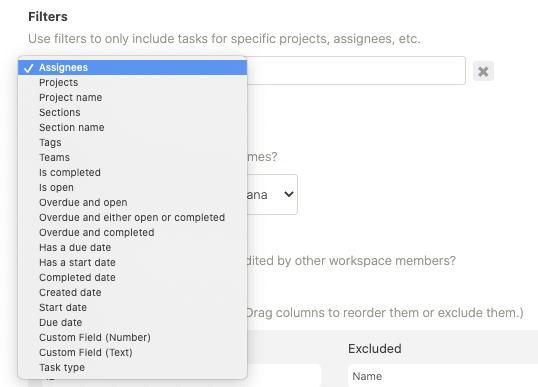 Data Link Filters List
