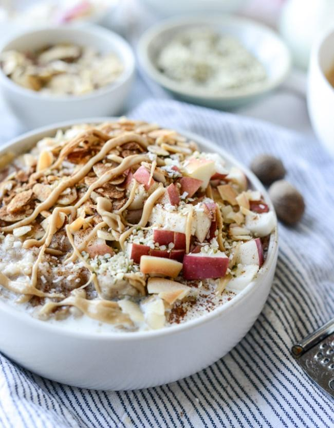 Image result for Apple cinnamon oatmeal with whipped maple cream