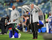 Bafana Bafana head coach Stuart Baxter (R) and his assistant Shaun Bartlett (L) during the Nelson Mandela Challenge match between South Africa and Paraguay on November 20 2018.