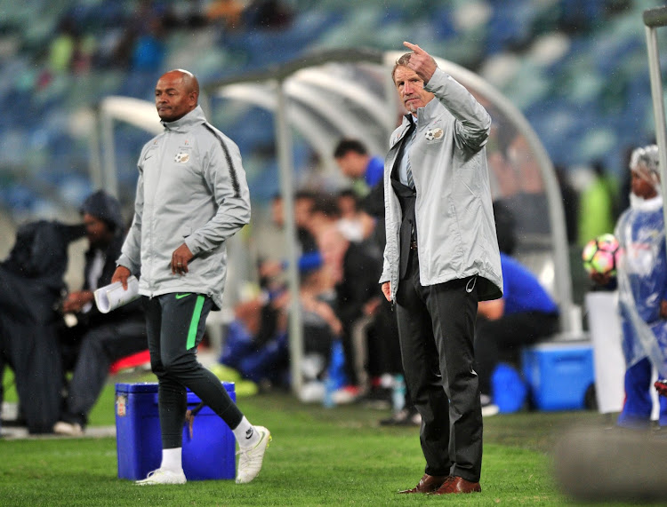 Bafana Bafana head coach Stuart Baxter (R) and his assistant Shaun Bartlett (L) react from their technical area during the 2018 Nelson Mandela Challenge match between South Africa and Paraguay at Moses Mabhida Stadium in Durban in November.