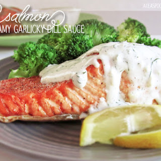 Salmon with Creamy Garlicky Dill Sauce