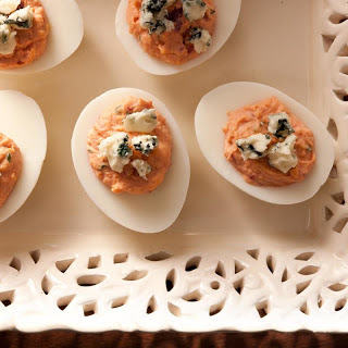 Beet Deviled Eggs with Smoked Blue Cheese